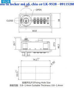 Khóa tủ locker mã số, chìa cơ LK-9528