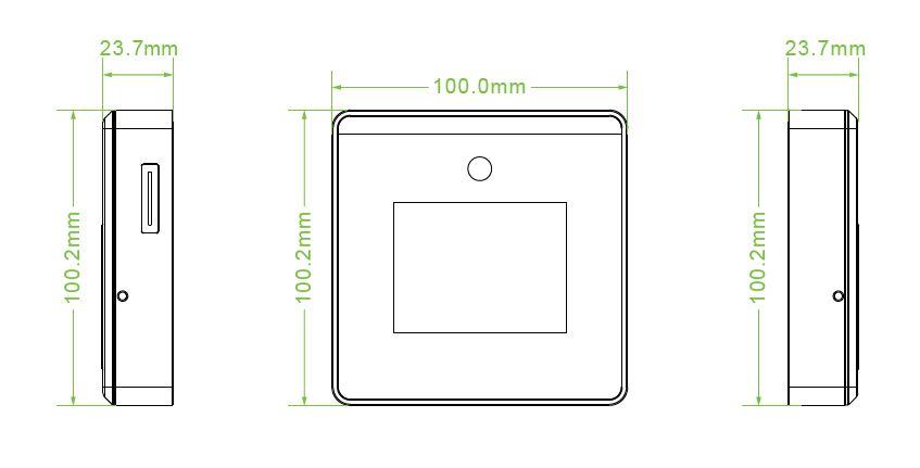 Kích thước Máy chấm công nhận diện khuôn mặt - Kết nối Wifi MiniTA xFace50