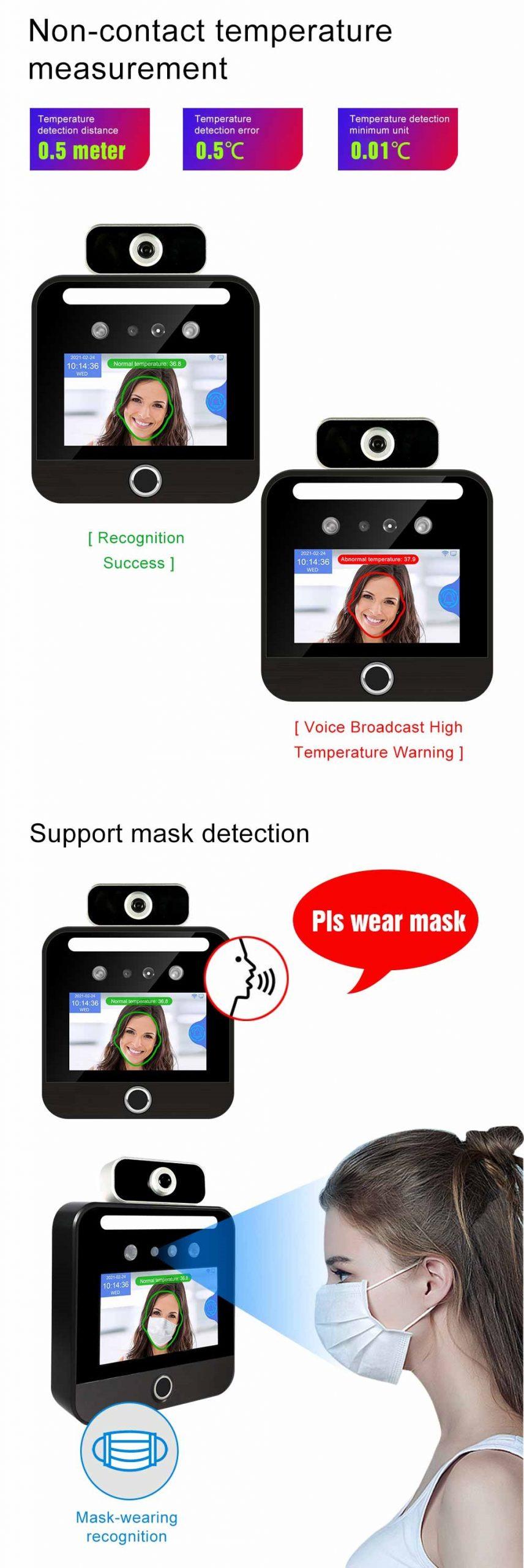 Máy chấm công khuôn mặt kiểm soát cửa ra vào kết hợp đo thân nhiệt Ronald Jack AI03FT